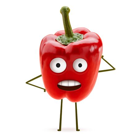 Red bell pepper with amazed face scratching its head on white background. Funny and cute art. Natural food, healthy and lifestyle. Stock fotó - 142327776
