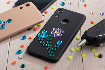 Black phone case with beautiful flower art