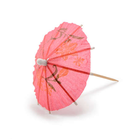 Pink paper umbrella isolated on white background