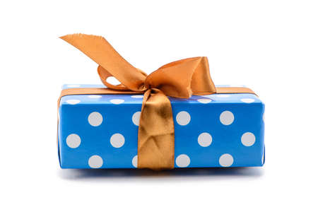 Gift box with polka dot isolated on white background
