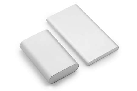 Two power banks of different generation on white background