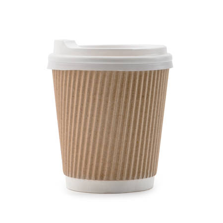Paper cup with corrugated layer on white background