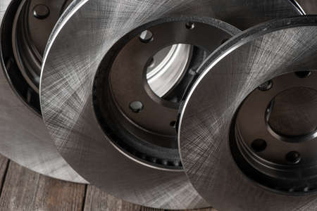Close-up on plain brake discs for cars