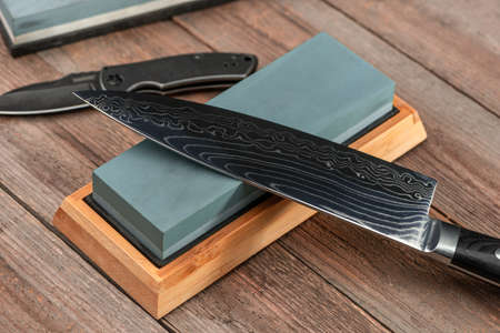 Sharpening a Japanese Gyuto knife and a jackknife with a whetsto