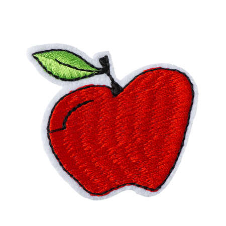 Apple embroidered patch isolated on white background Standard-Bild
