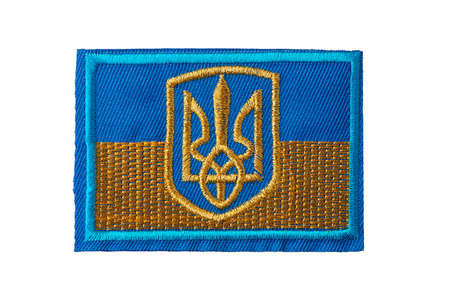 Ukrainian flag badge isolated on white background