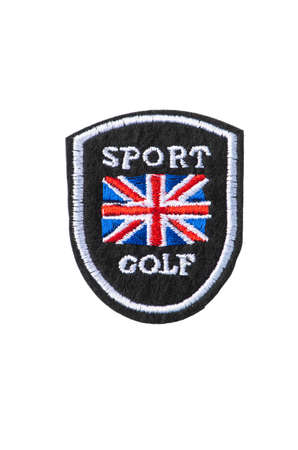 Embroidered badge for British golf club members, isolated on white background 免版税图像