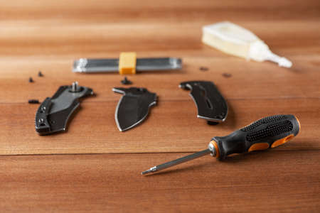Screwdriver, parts of a folding knife, bits and a bottle of household oil