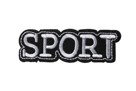 SPORT lettering embroidered patch isolated on white background