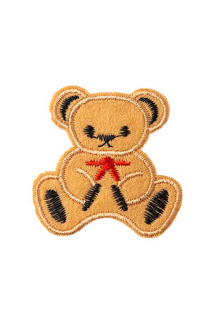 Teddy bear embroidered patch isolated on white background Stock Photo