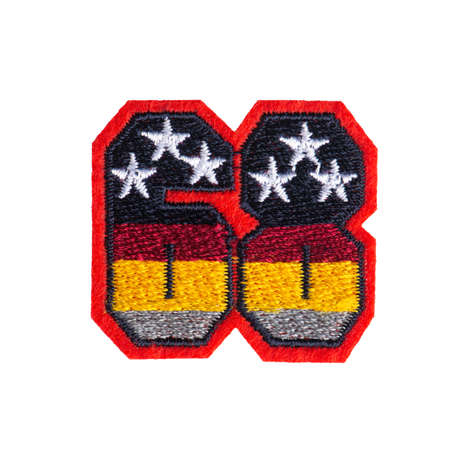 Embroidered number 68 with stars patch isolated on white background