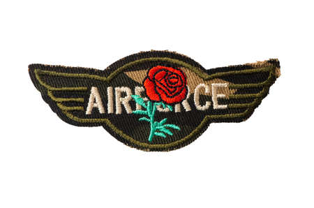 Military badge with AIRFORCE lettering and red rose embroidery