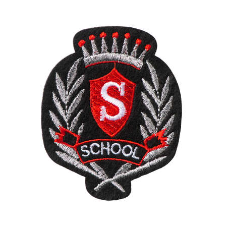Students black badge with an emblem of school isolated on white background Archivio Fotografico