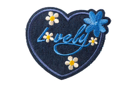 Blue denim patch with flowers and Lovely lettering