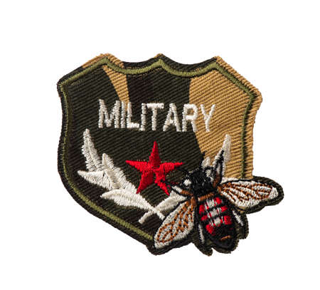 Shield badge with camouflage background, red star, fly and MILITARY lettering