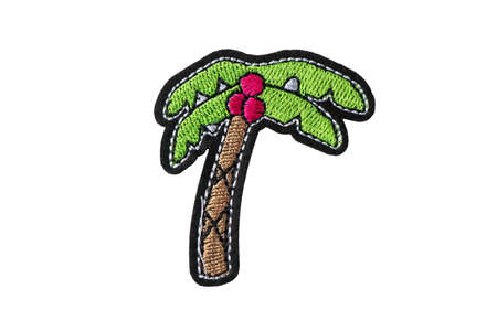 Palm with coconuts embroidered patch isolated on white background