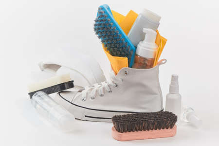 Cleansing kit in a canvas sneaker on white background