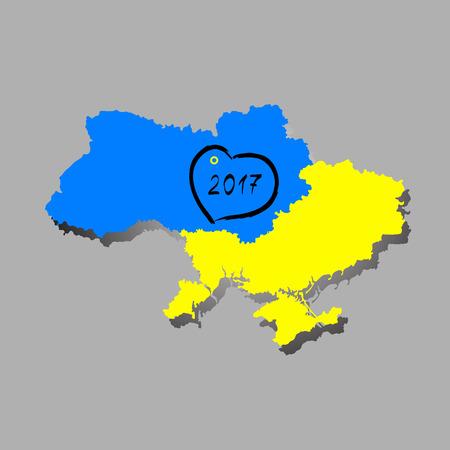 carte Ukraine avec le drapeau à l'intérieur et le vainqueur de l'Eurovision 2016