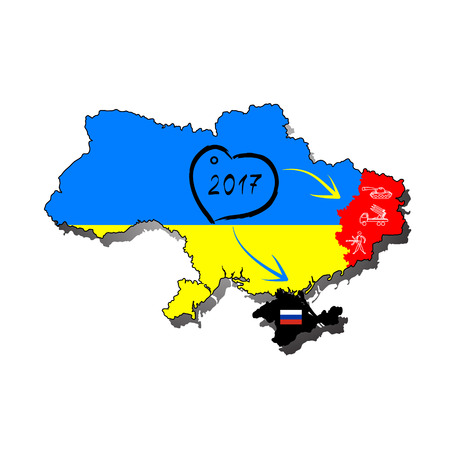 chernobyl: Ukraine map with the flag inside and the winner of the Eurovision 2016