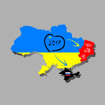 occupy: Ukraine map with the flag inside and the winner of the Eurovision 2016