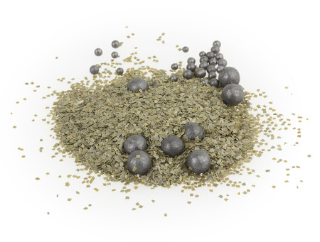 gunpowder: Green gunpowder on white background
