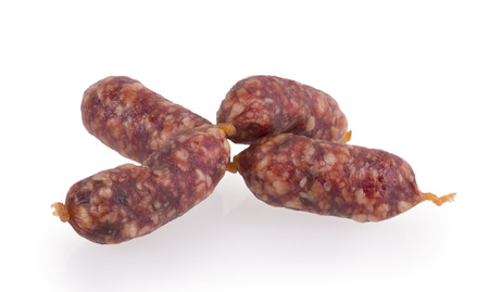 Smoked sausage on a white background  photo