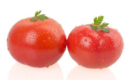 Ripe tomatoes on white background photo