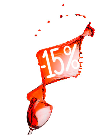 Red wine splash. 15 percent  Sale Discount. Isolated on white . photo