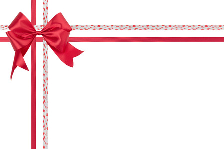 no way out: Red ribbon bow isolated on white . Stock Photo