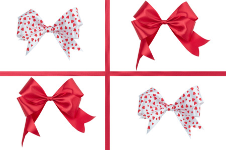 Red ribbon bow isolated on white . Stock Photo