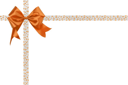 Orange bow with a ribbon on a white background. Stock Photo