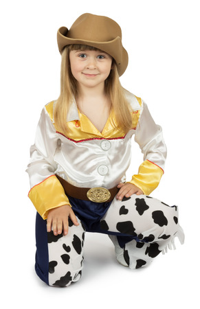 bandana western: pretty little girl in cowboy costume on the white background. Stock Photo