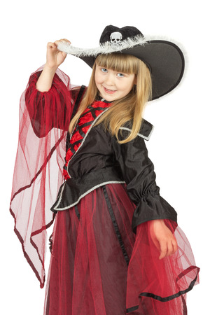 pretty little girl in pirate costume on the white background. photo
