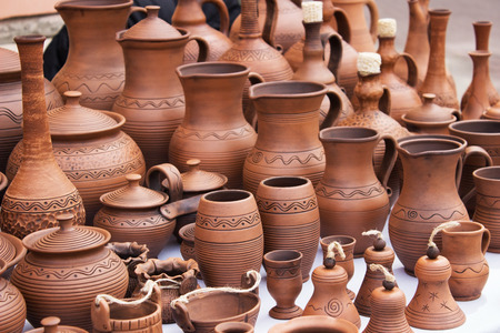 clay pot: vintage pottery pots with ornament.