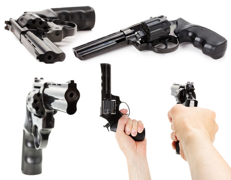 set of Revolver Gun on the white background. photo