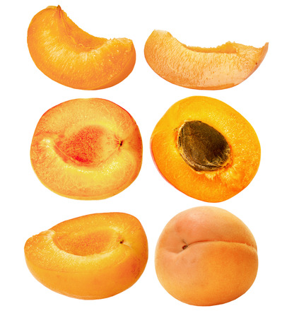 set of ripe apricots isolated on the white background.