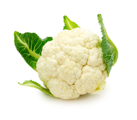 plant antioxidants: fresh cauliflower isolated on a white background.