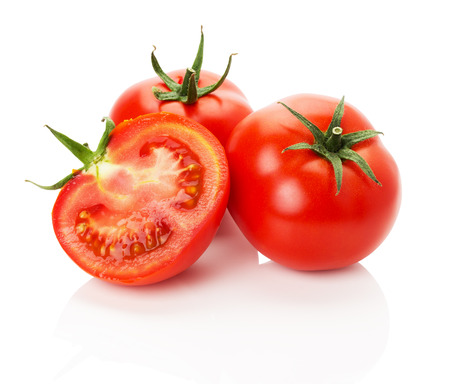 juicy rape tomatoes on the white background.