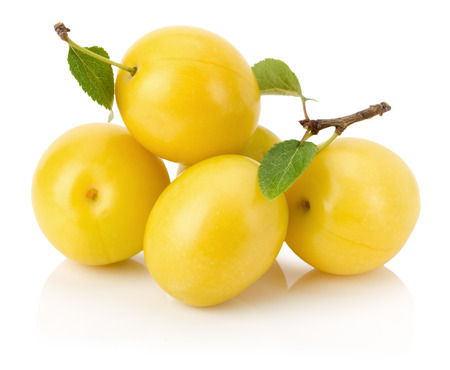 yellow cherry plums isolated on the white background. photo