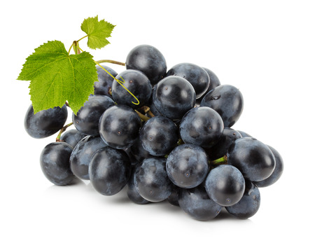 Ripe grapes isolated on the white background.