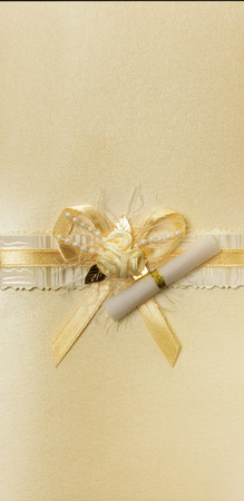 golden bow with scrolls. photo
