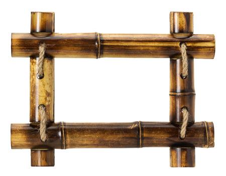 bamboe frame op een witte achtergrond. Stockfoto
