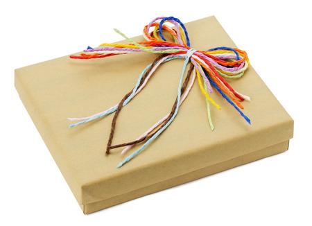 gifting: caja aislada en el fondo blanco regalar. Foto de archivo