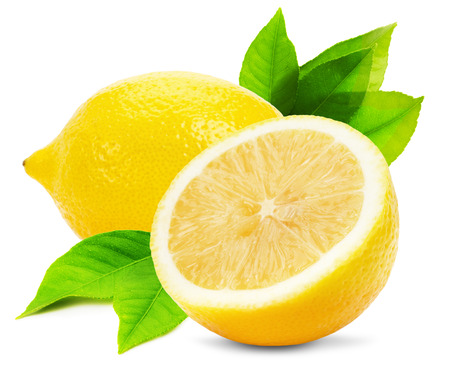 ジューシーなレモンは、白い背景で隔離。