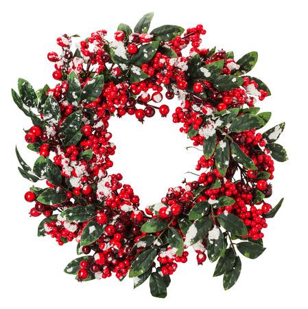 크리스마스 화환은 흰색 배경에 고립입니다. 스톡 콘텐츠