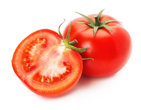 tasty tomatoes isolated on the white background.