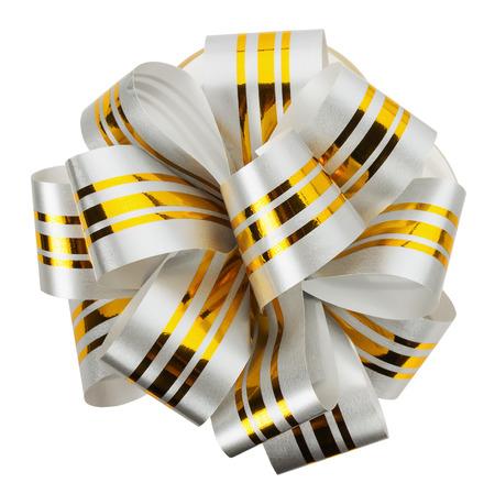 mo�o blanco: lazo blanco con cinta de oro aislado en el fondo blanco.