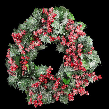 black wreath: Christmas wreath on the black background. Stock Photo