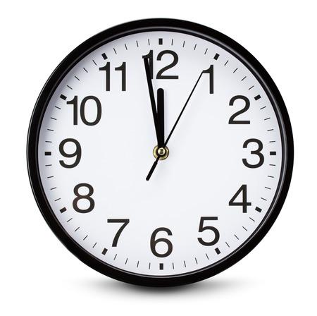 orologio da parete: guardare isolato su sfondo bianco. Archivio Fotografico