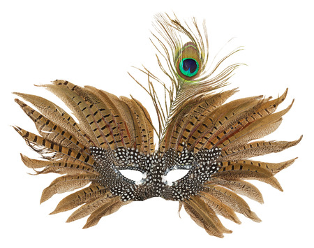 masquerade costumes: carnival mask with peacock feathers isolated on the white background.